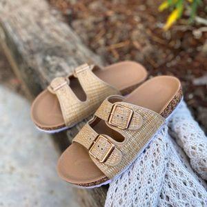 Shoes - Beige Basket Weave Double Strap Sandals